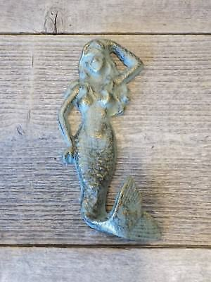 1 Cast Iron MERMAID Towel Hooks Hat Rack Nautical Swimming Pool Hook Sea Foam