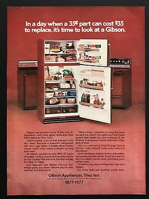 1977 Vintage Print Ad GIBSON APPLIANCES Red Appliance Image Refrigerator 70's