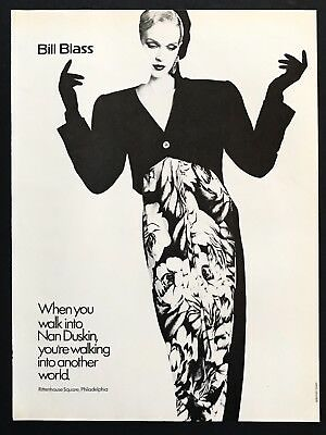 1985 Vintage Print Ad BILL BLASS Woman's Fashion Image 80's Style
