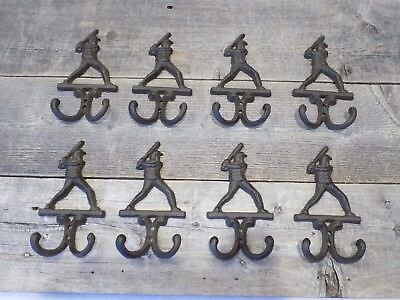 8 BASEBALL Decor HOOKS Coat Hat Wall Rack Rustic Cast Iron Antique Vintage Style