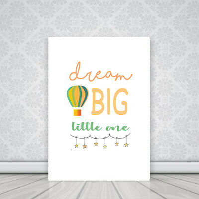 'Dream Big Little One' Baby Nursery Quote Picture Canvas Print BUY 3, GET 1 FREE