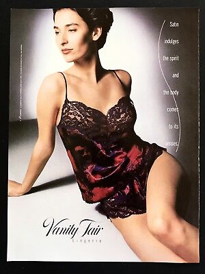 1990 Vintage Print Ad Vanity Fair Lingerie Sexy Image Photo Woman's Fashion 90's