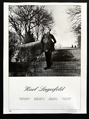 1990 Vintage Print Ad KARL LAGERFELD Woman's Fashion Image Photo Chic
