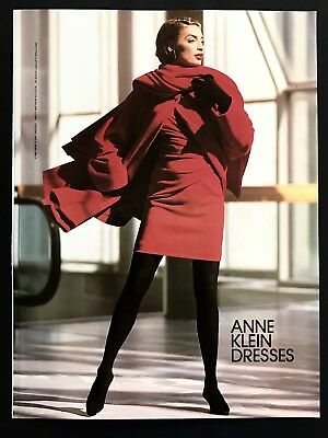 1990 Vintage Print Ad ANNE KLEIN Dress Woman's Fashion Photo Image Art