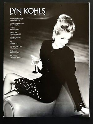 1990 Vintage Print Ad Lyn Kohls Woman's Fashion Image Sitting On Couch