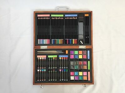 Studio Art Craft Supplies Set In Wood Box Drawing And