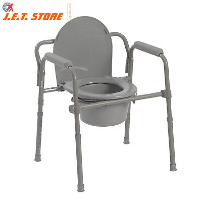 Steel Framed Heavy Duty Safety Folding Toilet, Medical Bedside Commode Chair NEW