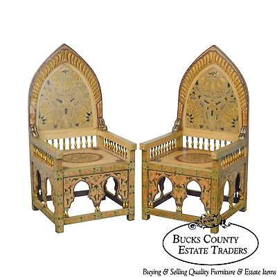 Unusual Pair of Middle Eastern Decorated Hall Chairs