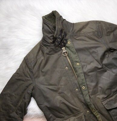 Barbour Cattrick Utility Coat Olive Size S Waxed Cotton Coating $575