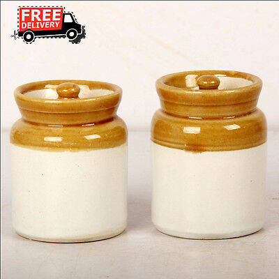Set Of 2 New Hand Carved Unique Pickle Sugar Kitchen Commodity Jar No 3/4, 8163