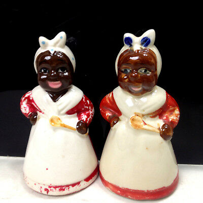 Vintage 2 x Mammy Black Americana Salt & Pepper Shakers