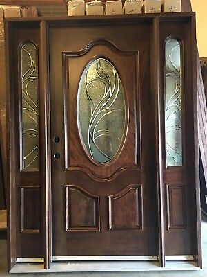 "SALE!!800G 1D2S Solid Mahogany Wood Front Door Pre-hung &Finished 30""x30""80"""