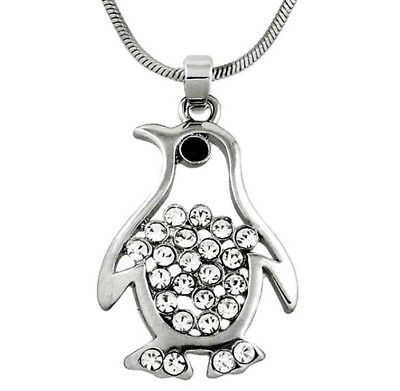"Silver Tone Penguin Pendant Necklace Clear Crystals 18"" Chain Fast Shipping"