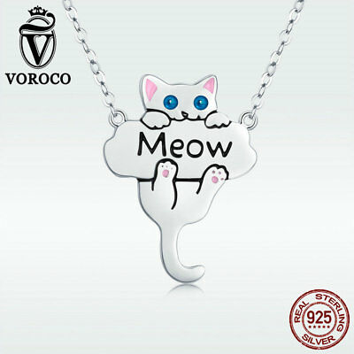 Voroco Real S925 Sterling Silver Pendant Necklace Kitty Cat Choker Chain Jewelry