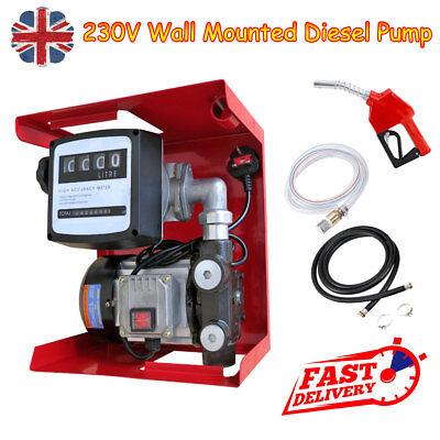 230V 550W Wall Mounted Diesel Transfer Fuel Pump Kit  With Automatic Nozzle UK
