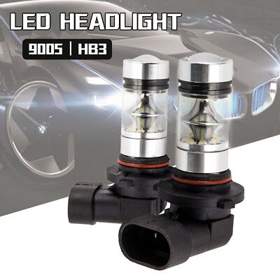 2PC 9005 HB3 9145 H10 8000K 100W LED Cree Projector Fog Driving Light Bulb White
