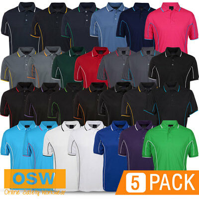 5 X Mens S/S Cool Dry Work Office Tradie Services Plumber Piping Polo Shirts