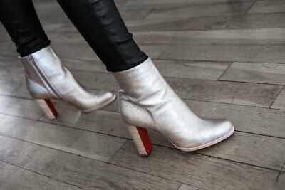 5741afc04776 38.5 Christian Louboutin ADOX 85 Block Heel Ankle Boot Metallic Silver  Leather