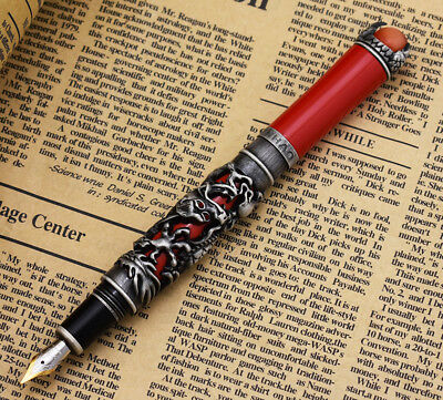New Jinhao Dragon King Vintage Fountain Pen, Unique Embossing Gray & Red Cap