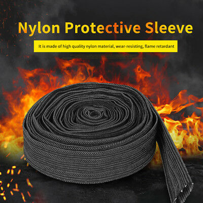 7.5m Nylon Protect Sleeve Welding Torch Hydraulic Hose Sheath Cable Cover Black