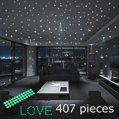 Glow In The Dark Stars Round Wall Stickers 407 Dots for Ceiling in Bedroom US