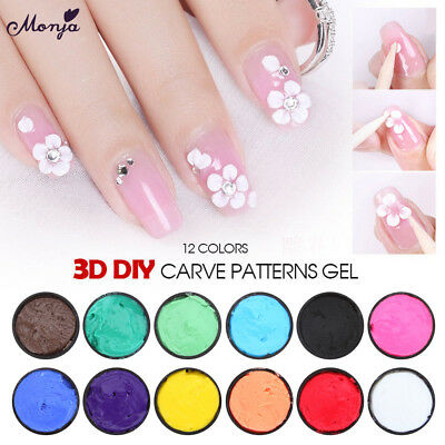 Nail Art 3D Carved Gel Sculpture Painting Acrylic UV Tips Flower Builder Lacquer