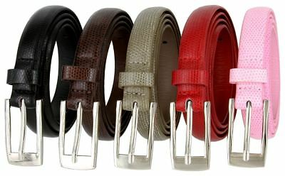 "Women's Skinny Snake Skin Genuine Leather Belt 3/4"" Wide Silver Plated Buckle"