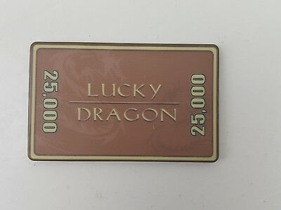 Lucky Dragon 25,000 25 k Poker Plaque brown Ceramic vintage