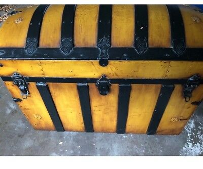 Gold Antique Dome Top Steamer Trunk