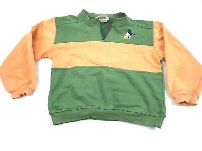 Vintage Donald Duck Sweater Jumper Long Sleeve Green And Orange Size 12 Original