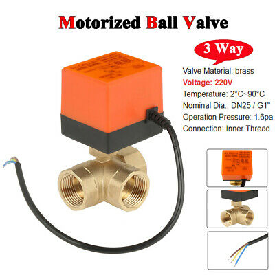 "AC 220V G1"" DN25 Brass 3 Way Motorized Ball Valve T Type Electrical Valve inm"