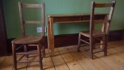 Antique Twin School Desk with chairs