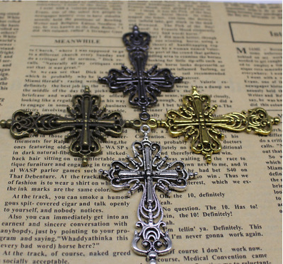 2/3/9pcs 64x42mm Antique Silver Beautiful Double-sided Cross Charm Pendant