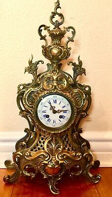 Splendid Large Japy Freres French Antique Dark & Gilt Gold Bronze Clock 19Th C
