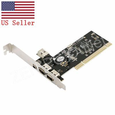 PCI 4 Port 1394 1394A Firewire IEEE 6 Pin Controller Card Adapter US Stock