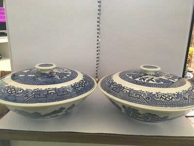 Pair Of Swinnertons Old willow blue  & white Tureen vegetable Dish with Lid