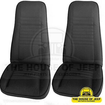 2PCS Front Bucket Seat; OEM Black Denim (Levis), Jeep CJ5, CJ7, CJ8 1975-1983