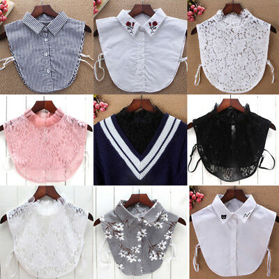 Women Blouse False Collar Clothes Shirt Detachable Collars Lace Flower Tops 2018