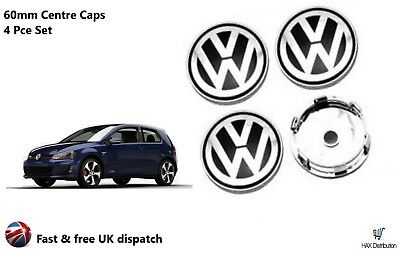 VW Volkswagen Alloy Wheel Set Of 4 Centre Caps 60mm Badges Black - UK STOCK