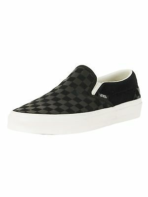 9ddb014060 VANS CLASSIC SLIP On Checker Emboss Black Retro Skate Trainers Shu ...