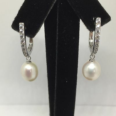 92.5 Sterling Silver 9-10mm Freshwater Pearl Drop Earrings with CZ **BNIB**