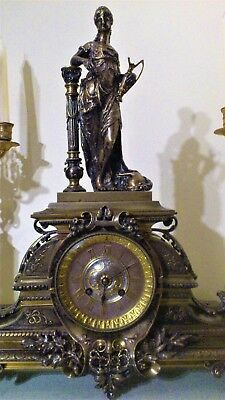 Antique French Solid Bronze Ormolu Figural Mantel Clock.