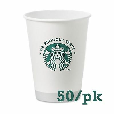 Starbucks White Disposable Hot Paper Cup, 12 Ounce, 50 Pack 12 Oz