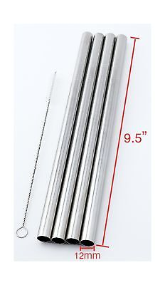 """4 SUPER WIDE Stainless Steel 9.5"""" Long x 1/2"""" Wide Drink Straw Smoothie Thick..."""