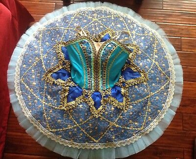 YAGP Ballet tutu costume, petite adult, blue/turquose/gold-pre-owned- Great cond