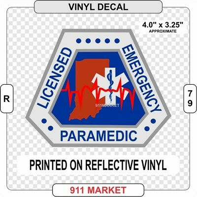 Indiana Reflective Paramedic Decal Vinyl Sticker IN EMT Emergency Medical - R 79