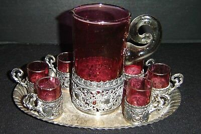 Antique WMF Silver Plated and Ruby Glass Liquors 7 Piece Set C.1890.