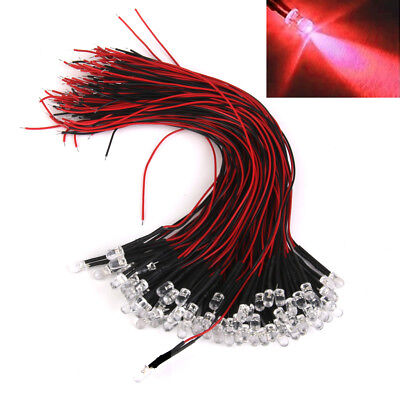20x Red Color Pre Wired Diffused LED Diode Light 5mm 3-42V DC 20mA Car Auto