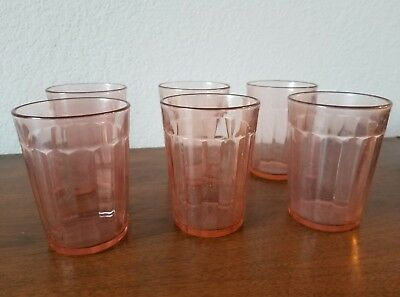 "Vintage Pink Depression Glass Tumblers 4"" Tall Vertical Ribbed - Set of Six (6)"
