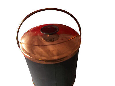 Vintage Coppercraft Guild Black Faux Leather & Copper Ice Bucket B91